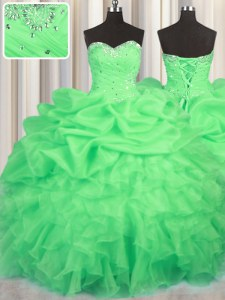 Green Sweetheart Neckline Beading and Ruffles and Ruching and Pick Ups Quinceanera Dresses Sleeveless Lace Up
