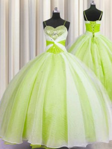 Yellow Green Spaghetti Straps Neckline Beading and Ruching Vestidos de Quinceanera Sleeveless Lace Up