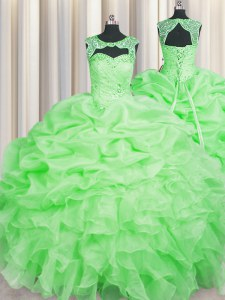 Low Price Quinceanera Gown Military Ball and Sweet 16 and Quinceanera and For with Beading and Pick Ups Scoop Sleeveless Lace Up
