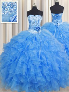 Suitable Handcrafted Flower Sleeveless Lace Up Floor Length Beading and Ruffles and Hand Made Flower Quince Ball Gowns