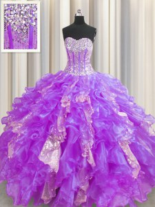 Customized Visible Boning Beading and Ruffles and Sequins Quinceanera Dresses Lavender Lace Up Sleeveless Floor Length