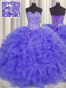 Visible Boning Floor Length Purple Quinceanera Dresses Sweetheart Sleeveless Lace Up
