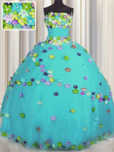 Fancy Aqua Blue Tulle Lace Up Quinceanera Gown Sleeveless Floor Length Hand Made Flower