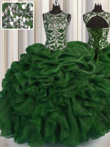 Ideal Scoop See Through Dark Green Ball Gowns Beading and Pick Ups Sweet 16 Quinceanera Dress Lace Up Organza Sleeveless Floor Length