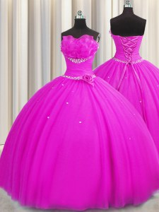 Handcrafted Flower Strapless Sleeveless Tulle Quinceanera Dresses Beading and Sequins and Hand Made Flower Lace Up