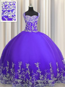 Lovely Purple Straps Neckline Beading and Appliques Quinceanera Gowns Sleeveless Lace Up