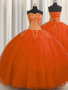 Sophisticated Really Puffy Tulle Sleeveless Floor Length Quinceanera Gowns and Beading