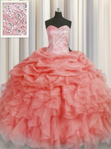 Unique Watermelon Red Ball Gowns Beading and Ruffles Quinceanera Gown Lace Up Organza Sleeveless Floor Length