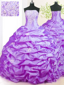 Lavender Lace Up Strapless Beading Sweet 16 Dresses Taffeta Sleeveless Sweep Train