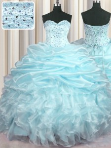 High Class Light Blue Sweetheart Lace Up Beading and Ruffles and Pick Ups 15th Birthday Dress Brush Train Sleeveless