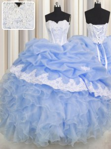 Sweetheart Sleeveless 15th Birthday Dress Floor Length Beading and Appliques and Ruffled Layers Light Blue Organza