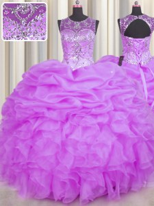 Glittering Scoop See Through Sleeveless Floor Length Beading and Ruffles and Pick Ups Backless Quinceanera Dresses with Lilac