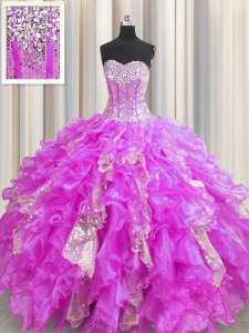 Sequins Visible Boning Lilac Sleeveless Organza and Sequined Lace Up Ball Gown Prom Dress for Military Ball and Sweet 16 and Quinceanera