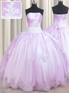 Lilac Lace Up Sweet 16 Quinceanera Dress Beading and Appliques Sleeveless Floor Length