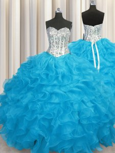 Fantastic Organza Long Sleeves Floor Length Ball Gown Prom Dress and Beading and Ruffles