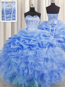 Visible Boning Blue Ball Gowns Organza Sweetheart Sleeveless Beading and Ruffles and Pick Ups Floor Length Lace Up Quinceanera Gown