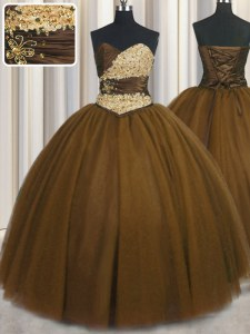 Brown Tulle Lace Up Sweetheart Sleeveless Floor Length Quinceanera Dresses Beading and Appliques and Ruching and Belt