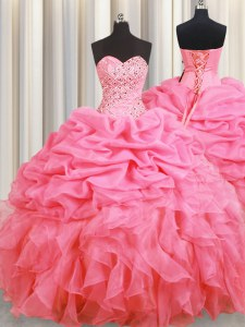 Stylish Halter Top Floor Length Lace Up Sweet 16 Dress Rose Pink for Military Ball and Sweet 16 and Quinceanera with Beading and Ruffles and Pick Ups
