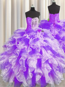 Glittering Organza Sweetheart Sleeveless Lace Up Beading and Ruffles and Ruching Quinceanera Dresses in White And Purple