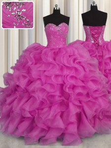 Fantastic Fuchsia Ball Gowns Sweetheart Sleeveless Organza Floor Length Lace Up Beading and Ruffles Sweet 16 Dress