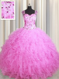 Edgy See Through Zipper Up Rose Pink Tulle Zipper Square Sleeveless Floor Length Sweet 16 Dresses Beading and Ruffles