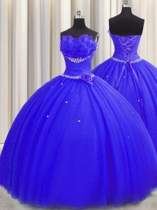 Elegant Handcrafted Flower Strapless Sleeveless Lace Up Vestidos de Quinceanera Royal Blue Tulle