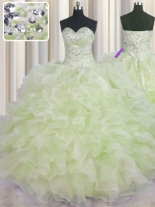 Yellow Green Lace Up Quinceanera Dresses Beading and Ruffles Sleeveless Floor Length