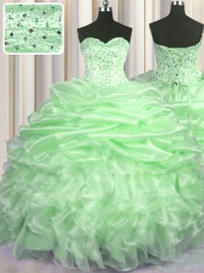 Admirable Organza Sweetheart Sleeveless Brush Train Lace Up Beading and Ruffles and Pick Ups Vestidos de Quinceanera in