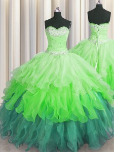 Multi-color Ball Gowns Organza Sweetheart Sleeveless Beading and Ruffles and Ruffled Layers and Sequins Floor Length Lace Up 15th Birthday Dress