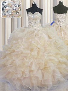 Customized Champagne Sleeveless Organza Lace Up Ball Gown Prom Dress for Military Ball and Sweet 16 and Quinceanera