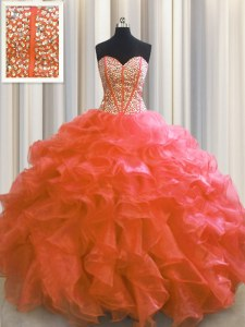 Sweet Visible Boning Red Ball Gowns Beading and Ruffles Sweet 16 Quinceanera Dress Lace Up Organza Sleeveless Floor Length