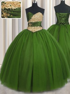 Green Sweetheart Neckline Beading and Ruching and Belt Quinceanera Gown Sleeveless Lace Up