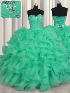 Turquoise Ball Gowns Beading and Ruffles 15th Birthday Dress Lace Up Organza Sleeveless Floor Length