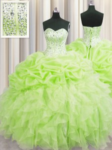 Visible Boning Yellow Green Ball Gowns Beading and Ruffles and Pick Ups Quinceanera Dress Lace Up Organza Sleeveless Floor Length