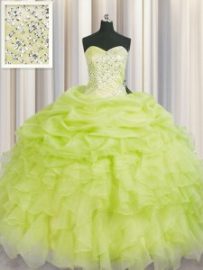 Yellow Green Organza Lace Up Sweet 16 Quinceanera Dress Sleeveless Floor Length Beading and Ruffles