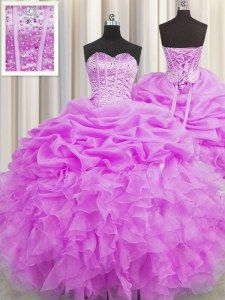 Visible Boning Organza Sweetheart Sleeveless Lace Up Beading and Ruffles and Pick Ups Sweet 16 Quinceanera Dress in Lilac