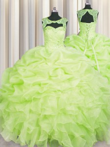 Scoop Sleeveless Sweet 16 Dress Floor Length Beading and Pick Ups Yellow Green Organza