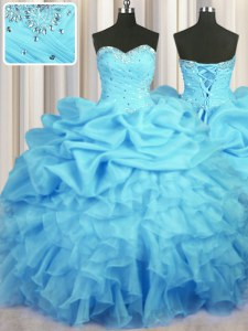 Stylish Pick Ups Sweetheart Sleeveless Lace Up Quince Ball Gowns Baby Blue Organza
