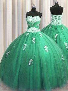 Dramatic Turquoise Sleeveless Beading and Appliques Floor Length 15 Quinceanera Dress