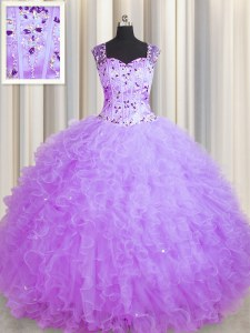 Fantastic See Through Zipper Up Purple Sleeveless Tulle Zipper Sweet 16 Dress for Military Ball and Sweet 16 and Quinceanera