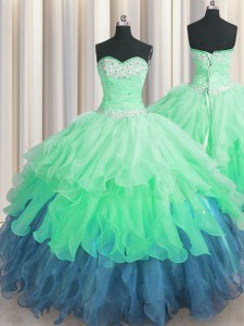 Multi-color Ball Gowns Beading and Ruffles and Ruffled Layers and Sequins Sweet 16 Quinceanera Dress Lace Up Organza Sleeveless Floor Length
