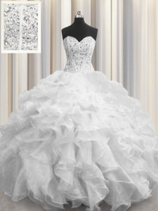 Visible Boning White Lace Up Sweetheart Beading and Ruffles Quince Ball Gowns Organza Sleeveless