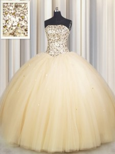 Most Popular Sequins Really Puffy Floor Length Ball Gowns Sleeveless Gold Quinceanera Dress Lace Up