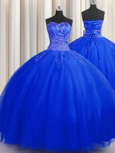 Fashion Puffy Skirt Sleeveless Floor Length Beading Lace Up Vestidos de Quinceanera with Royal Blue