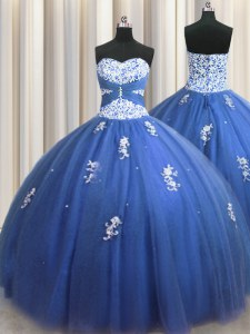 Pretty Tulle Sleeveless Floor Length Quinceanera Gown and Beading and Appliques