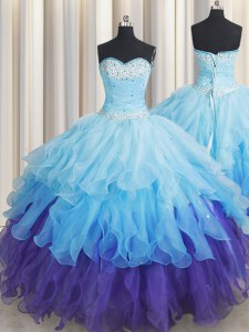 Enchanting Sleeveless Lace Up Floor Length Beading and Ruffles and Ruffled Layers and Sequins Quinceanera Dresses