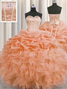Visible Boning Orange Sweetheart Neckline Beading and Ruffles and Pick Ups 15th Birthday Dress Sleeveless Lace Up