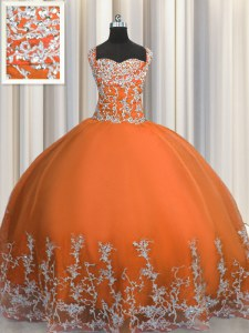 Best Selling Orange Red Sleeveless Floor Length Beading and Appliques Lace Up Vestidos de Quinceanera