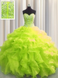Custom Fit Visible Boning Yellow Green Ball Gowns Sweetheart Sleeveless Organza Floor Length Lace Up Beading and Ruffles 15 Quinceanera Dress
