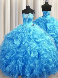 Baby Blue Lace Up Quinceanera Gown Beading and Ruffles Sleeveless Sweep Train